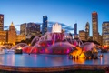 Picture USA, fountain, Buckingham fountain, the evening, lights, Buckingham fountain, home, skyscrapers, Chicago, beauty