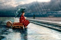 Picture umbrella, Jenny de Groot, suitcases, girl, the shower