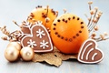 Picture balls, balls, food, oranges, New Year, cookies, Christmas, Christmas, gold, carnation, cakes, holidays, New Year, ...