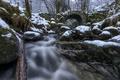 Picture forest, snow, bridge, stones, Scotland, river, Scotland, Glen Creran, Fairy Bridge