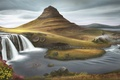 Picture painted landscape, art, hills, waterfall, grass, river, clouds