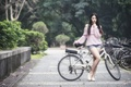 Picture street, bike, girl, Asian