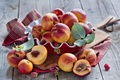 Picture Board, peaches, leaves, berries, raspberry, fruit, Anna Verdina, nectarine, dishes