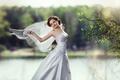 Picture the bride, brunette, happiness, beauty, veil, dress