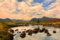 Picture mountains, lake, stones, valley