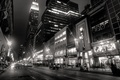 Picture night, city, the city, lights, lights, people, building, New York, taxi, black and white, night, ...