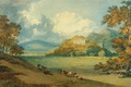 Picture picture, mountains, trees, View of Dunster Castle from the Northeast, castle, William Turner, valley, landscape, ...