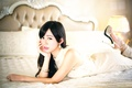 Picture sadness, makeup, shoes, bed, heels, Oriental girl