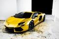 Picture Lamborghini, Reflection, Sports car, Gold, Gold, Aventador, Auto, Tuning, Machine