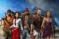 Picture mountains, clouds, weapons, guns, island, knife, zombies, zombie, Logan, axe, heroes, Logan, survivors, sledgehammer, Deep ...