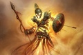 Picture flame, magic, armor, the demon, helmet, shield, peak, Fire warrior