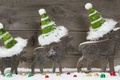 Picture decoration, New Year, Christmas, snow, wood, gifts, Christmas
