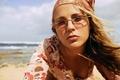 Picture sea, beach, girl, glasses, blonde, shawl