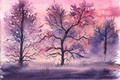 Picture grass, trees, watercolor, painted landscape