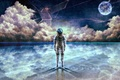 Picture water, stars, clouds, astronaut, art, bouno satoshi