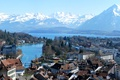 Picture Switzerland, bridge, snow, mountains, home, trees, Bay, street, lake, quarter, the sky, landscape, Bern