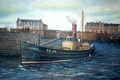 "Picture oil, picture, Scotland, canvas, PD10 ""Golden rod"", fishing harbour, seiner, the port of Peterhead"