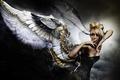 Picture mechanism, wings, background, blonde, black, angel, girl, dress