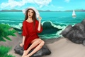 Picture hat, look, art, painting, legs, sand, sea, red dress, girl, the sky, clouds