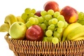 Picture basket, apples, grapes, fruit, nectarine