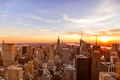 Picture Manhattan, America, NYC, Chrysler Building, United States of America, United States, Empire State Building, Sunset, ...