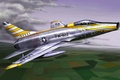 Picture jet, aviation, North American F-100 Super Sabre, painting, war, art