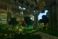 Picture flowers, minectaft, trees, water, arch, twilight, blocks, lights, grass