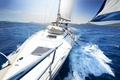 Picture yacht, tourism, ship, squirt, sea, wave, summer, hills, horizon, sky, clouds, space, the course, hills, ...