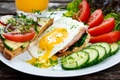 Picture egg, juice, plate, bread, meat, juice, vegetables, tomatoes, cucumbers, spices, bread, egg, meat, vegetables, cucumber, ...