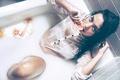 Picture girl, wet, bath, citrus, Ivan Mateos