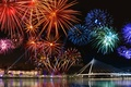 Picture light, fireworks, salute, the city, lights, water, night, the sky
