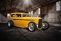 Picture retro, classic, classic car, hangar, yellow, hot-rod