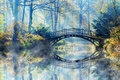Picture Nature, Park, Fog, Bridge, River, Autumn