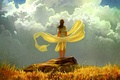 Picture yellow, art, the wind, girl, stone, clouds, the sky, grass, autumn, fabric