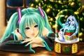 Picture snowman, hatsune miku, spruce, snow, vocaloid, tree, new year, girl, souvenir