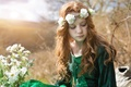 Picture flowers, mood, hair, girl, freckles, red, wreath, redhead, freckled