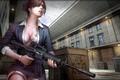 Picture gun, woman, building, assault rifle, formal clothes