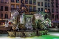 Picture lights, night, France, Lyon, fountain, sculpture