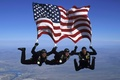 Picture sport, skydivers, the sky, risk, American flag
