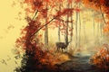 Picture autumn, forest, leaves, trees, animal, art, track, painting