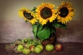 Picture texture, still life, apples, sunflowers, bouquet