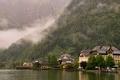 Picture Hallstatt, mountains, Austria, forest, fog, the city