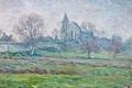 Picture picture, LANDSCAPE, Henri Lebacq, Church, trees, garden, spring