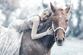 Picture girl, snow, Alessandro Di Cicco, Queen Maud, horse, sleep