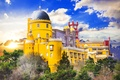 Picture Pena Palace, Portugal, trees, castle, Palace, the sun, the sky, yellow, clouds