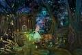 Picture magic, mountains, magic, road, book, sea, lights, night, night, lantern, forest, stars, fireflies, the portal, ...