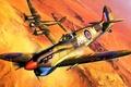 Picture aviation, ww2, painting, airplane, Supermarine Spitfire Mk.Vb Trop, war, art