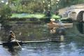 Picture picture, boat, Park, bridge, progulus, kayak, umbrella, ladies, river