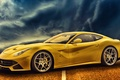 Picture yellow, car, Ferrari, F12berlinetta, road