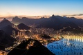 Picture Brazil, Rio de Janeiro, Bay, the city, Bay, lights, boats, the evening, the sky, clouds, ...